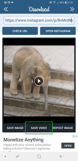 Скачивание видео в Inst Download
