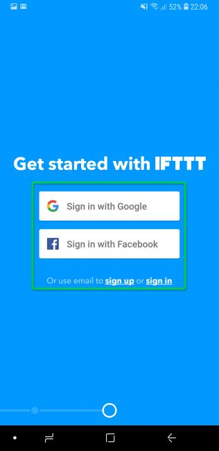 Вход в аккаунт IFTTT