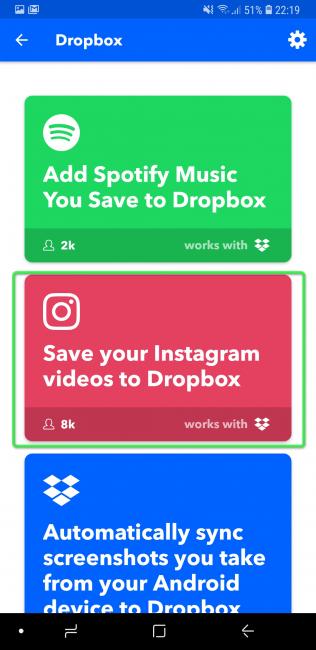 Выполнение соединения всех аккаунтов — Dropbox и Инстаграм с IFTTT
