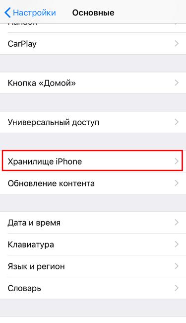 Раздел Хранилище iPhone